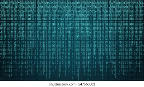 Abstract cyberspace with digital falling lines, binary hanging chain. High-tech computer background