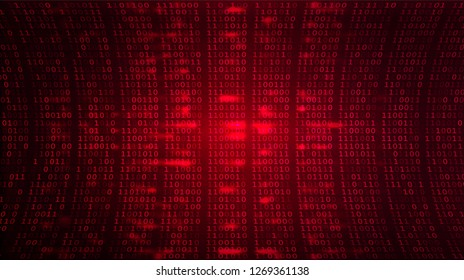 Abstract Cyberspace Red Background. Digital Binary Code Warning Screen