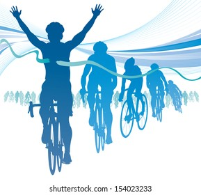 Abstract Cyclist winning the race against competitors.