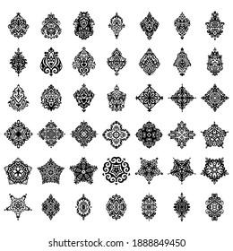 Abstract damask emblem set heraldic style ornaments