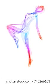 Abstract dancer, woman silhouette over white, modern illustration, Vector