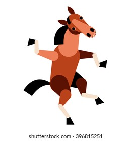 Abstract dancing horse isolated on white background. Vector illustration.