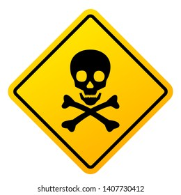 Abstract danger sign with skull illustration on white background