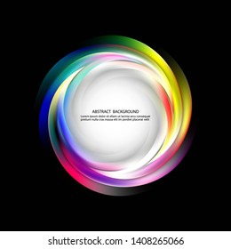 Abstract dark background with color lines in the form of a whirlwind. Design element