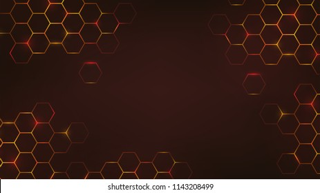 Abstract dark background with orange luminous hexagons, honeycombs