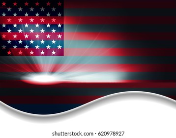abstract dark background with the outline of the US flag, space for text