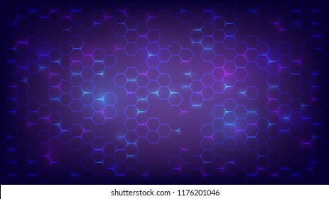 Abstract dark background with purple luminous hexagons, technology, neon