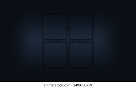 Abstract dark blue background with overlapping squares.Vector material background. Modern background design.