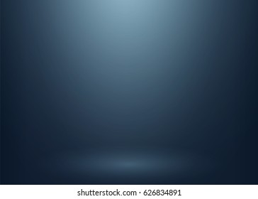 Abstract dark blue gradient backdrop for product display. Empty studio photo room background. Vector clean light interior scene mock up for your advertising design