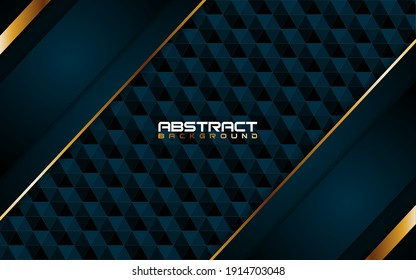 Abstract Dark Blue and Lines Gold With Shape Background Design