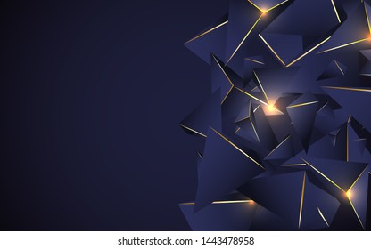 Abstract dark blue polygonal pattern with 3d crystal triangles texture a combination line light gold. Luxury premium concept vector design for use element cover, banner, wallpaper, business