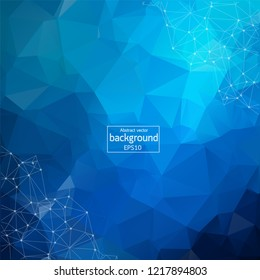 Abstract Dark Blue Polygonal Space Background with Connecting Dots and Lines.  Connection structure. Vector science background. Polygonal vector background. Futuristic HUD background.