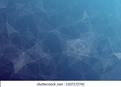 Abstract dark blue technology background, polygonal structure connecting points, vector illustration