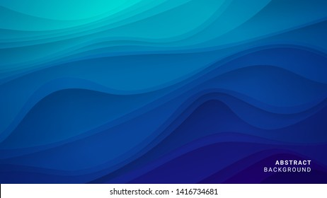 Abstract dark blue wavy background. Pattern of gradient lines. The texture of water or liquid.