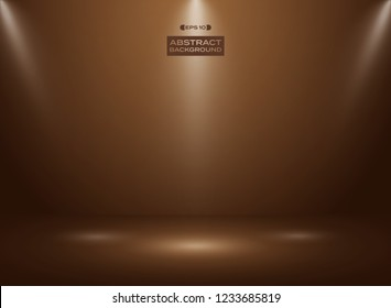Abstract of dark chocolate - cocao color in studio room background with sportlights. vector eps10