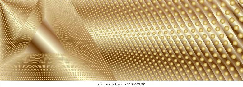 Abstract Dark Golden Pattern with Balls. Structural Triangular Texture. Vector. 3D Illustration