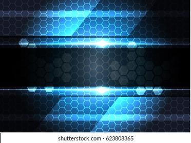 Abstract dark gray banner on hexagon mesh light design modern technology background vector illustration.