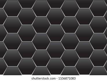 Abstract dark gray hexagon silver line mesh pattern design modern futuristic background texture vector illustration.