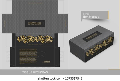 Abstract dark gray seamless pattern with vintage golden elements  tissue box concept, template for business purpose, place your text and Logos and ready to go for print.
