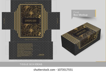 Abstract dark gray seamless pattern with golden frame at top center tissue box concept, template for business purpose, place your text and Logos and ready to go for print.