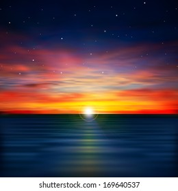 abstract dark nature background with ocean sunrise and stars