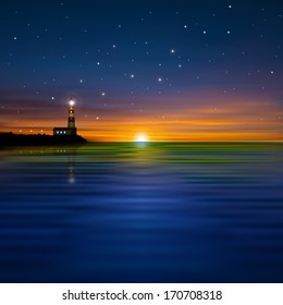 abstract dark sea background with lighthouse and sunrise