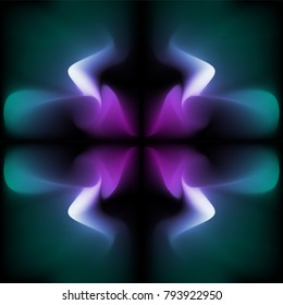 Abstract dark ultra violet magenta turquoise smooth fractal vector pattern