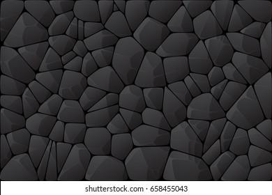 Abstract dark wall. Black stone texture. Geometric voronoi design illustration