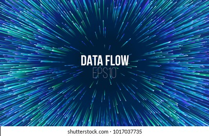Abstract data flow tunnel. Circular geometric star pattern. Music explosion radial background