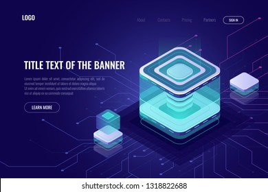 Abstract data server isometric icon, digital technology landing web page banner, database and big data processing concept, cloud storage, high tech ultraviolet vector