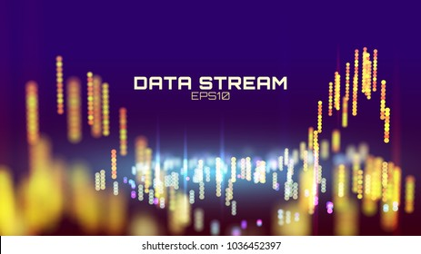 Abstract data stream analytics. Innovation futuristic digital presentation background