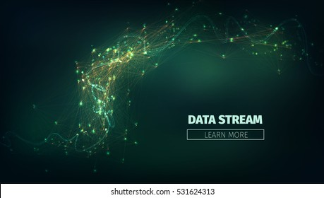 Abstract data stream vector illustration. Technology futuristic background with information flow and glowing.