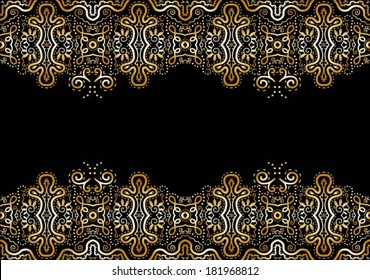 Abstract decoration, lace border pattern, invitation card with ornate detailed ornament. Template frame design, isolated elements, yellow gold on black
