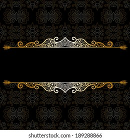 Abstract decoration, lace frame border pattern, ethnic ornament. Template design, isolated elements, gold on black