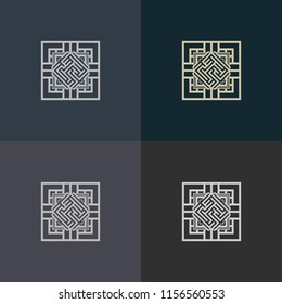 Abstract decorative element in the form of a maze. Labyrinth vector icon.