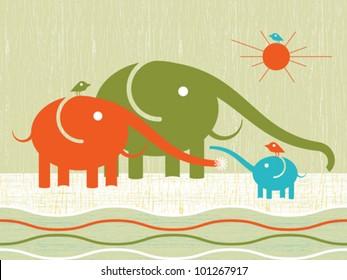 Abstract decorative elephants happy family print background. Vector.