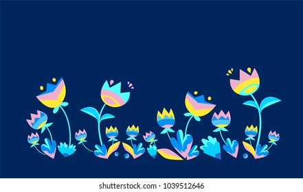 Abstract Decorative Flowers Vector Illustration.