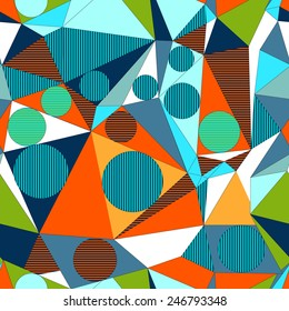 Abstract decorative geometric build illusion. Seamless  triangle  pattern. Vector.