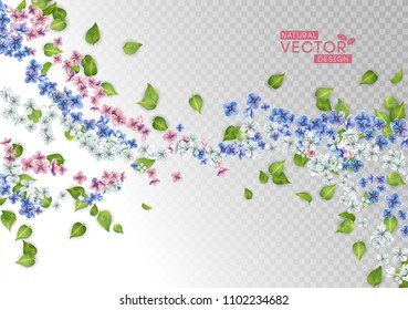 Abstract decorative natural design. Vector floral background. Flying flowers and leaves