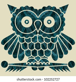 Abstract decorative network textured night owl. Vector.