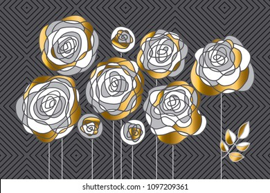Abstract decorative rose flowers design element. Gold and gray floral motif for header, card, invitation, poster, cover and other web and print design projects. stock vector illustration.