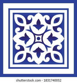 Abstract decorative sign icon watercolor blue and white, floral ornament for design, ceramic, porcelain,indigo, chinaware, tile, ceiling, texture, wall, floor, paper and fabric, vector illustration