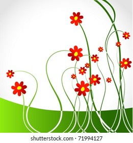 Abstract Decorative Spring Floral Background Red Stock