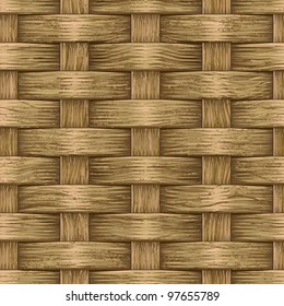 Abstract decorative vintage wooden textured basket weaving background. Seamless pattern. Vector.