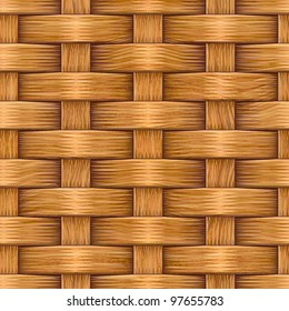 Abstract decorative wooden textured basket weaving background. Seamless pattern. Vector.