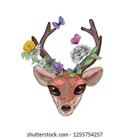abstract deer head, flowers and butterflies, vector illustration