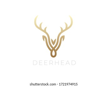 Abstract Deer Head Logo Design. Vector illustration. Stylized geometric shape deer logotype.