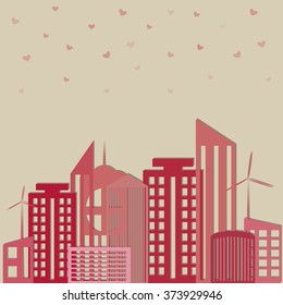 Abstract delicate city. Apartments For Rent / Sale, Real Estate. Cute buildings.Vector St Valentine day's greeting card.