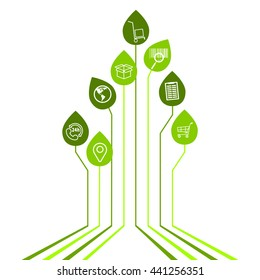 Abstract Delivery background - connected leaves integrated flat icons. Growth tree idea with logistic, service, shipping, distribution, transport, market concepts. Vector interactive illustration.
