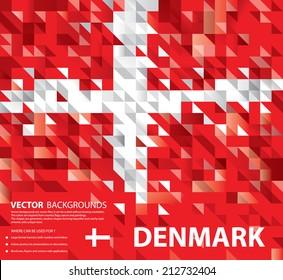 Abstract Denmark Background, Danish Flag (Vector Art)